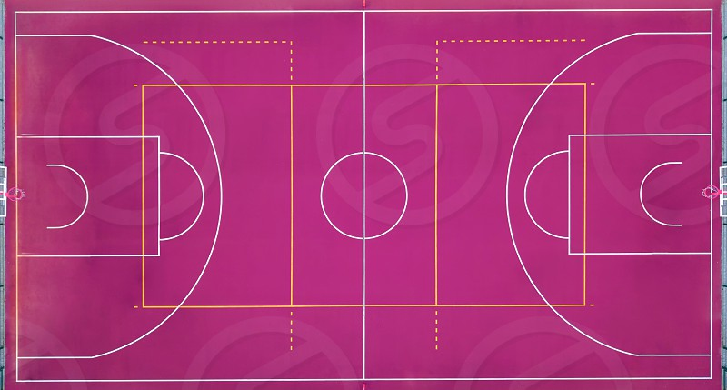 Aerial view strictly from above with the drone to a basketball court. Sport square for game in basketball. Top view. photo