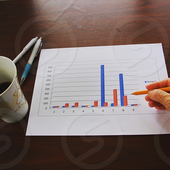 chart diagram beside on the white and yellow ceramic mug on the brown wooden surface photo