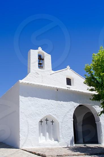 Ibiza white church in Sant Carles Peralta San Carlos mediterranean architecture photo