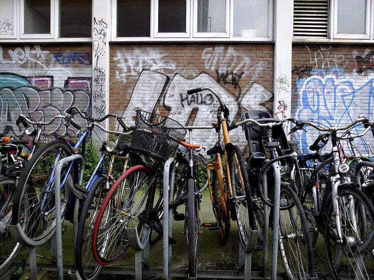 bikes in front of graffiti wall photo