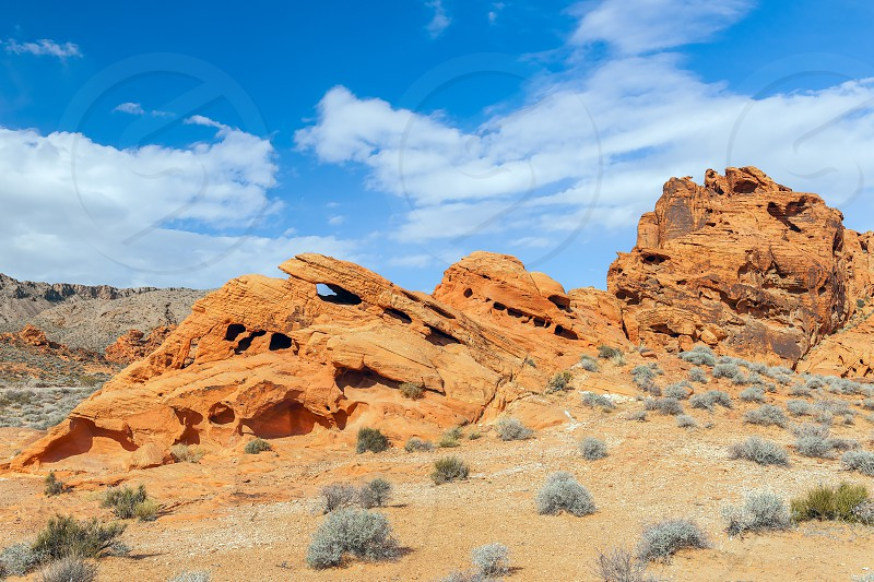 Eroded red sandstone rock formations. Valley of Fire State Park. Nevada. USA photo