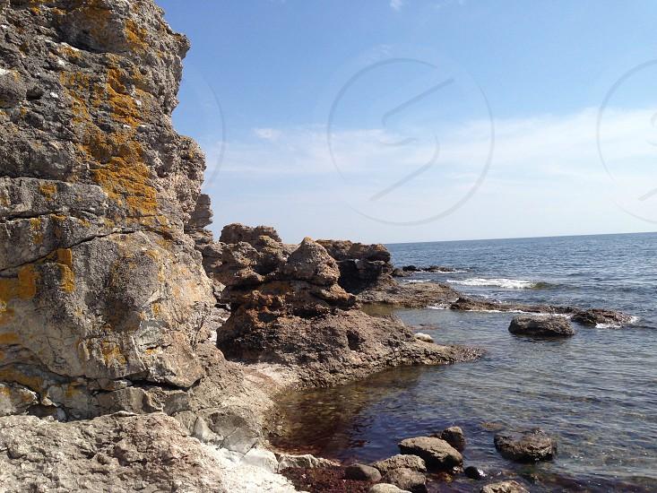 Rauks in southern Gotland Sweden. photo