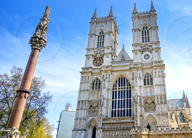 A view of Westminster Abbey on a sunny day in London UK. photo