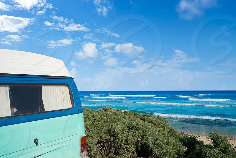 Tulum Caribbean beach with van in Riviera Maya of Mayan Mexico photo