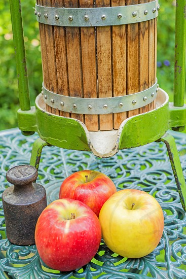 Old cider press with apples photo