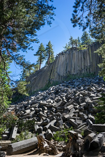 """It doesn't get any more pure """"geometry"""" than these unbelievable formations. Geo-metry from the Greek words 'geo' meaning earth and 'metria' meaning measure. Columnar basalt at The Devil's Postpile near Mammoth California form a wall of hexagonal columns that have shed off over the years. photo"""