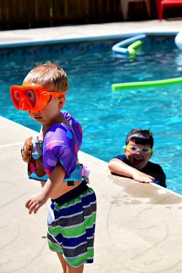 Summer swimming friends toddler sunshine fun pool goggles photo