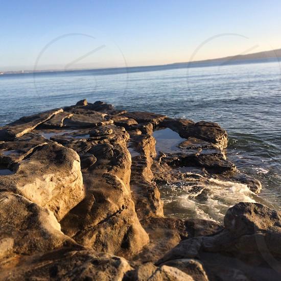 The rocks overlooking Rangitoto island from Kohimarama beach Auckland New Zealand photo