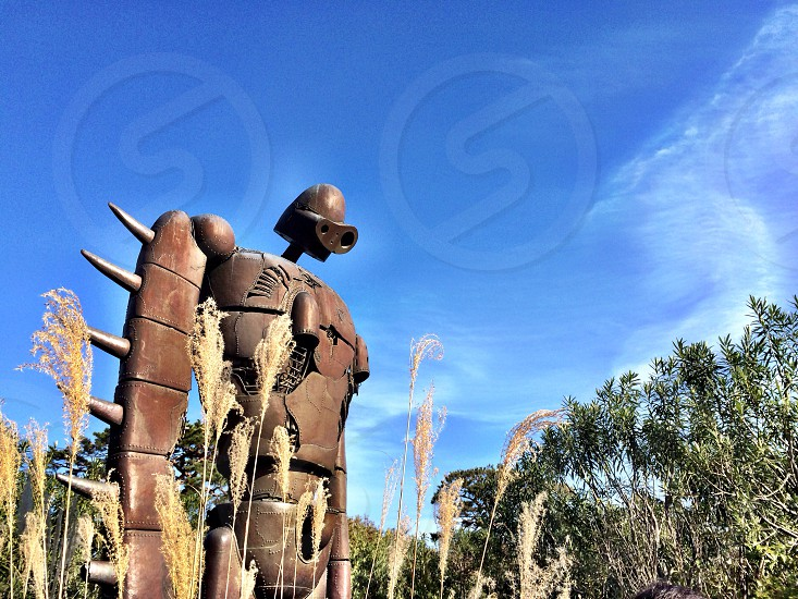 bronze robot figure photo