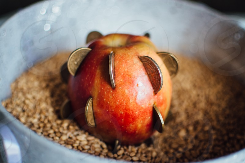 Apple with coins inside it.  photo
