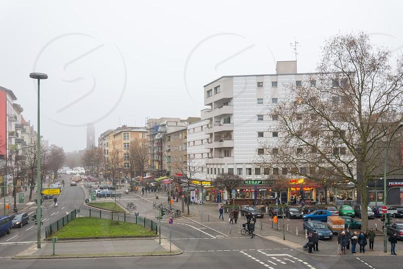 View from U-bahn to Saturday market at Winterfeldtplatz. photo
