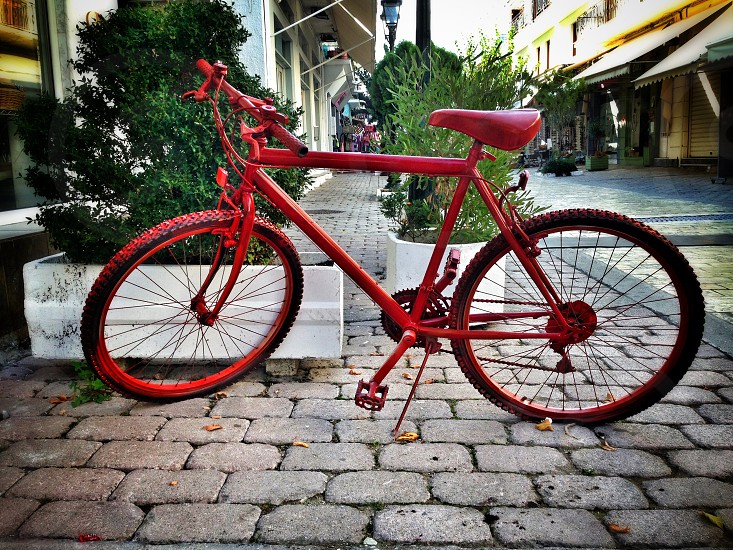 Bicycle cycle travel journey pedal power red photo