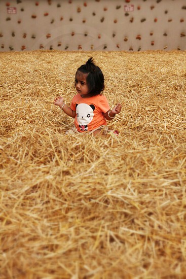 Playing in the hay child girl toddler Asian Indian.  photo
