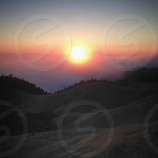 mountain sunset photo photo