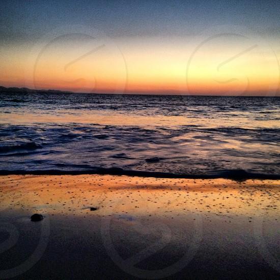 the beach at sunset photo