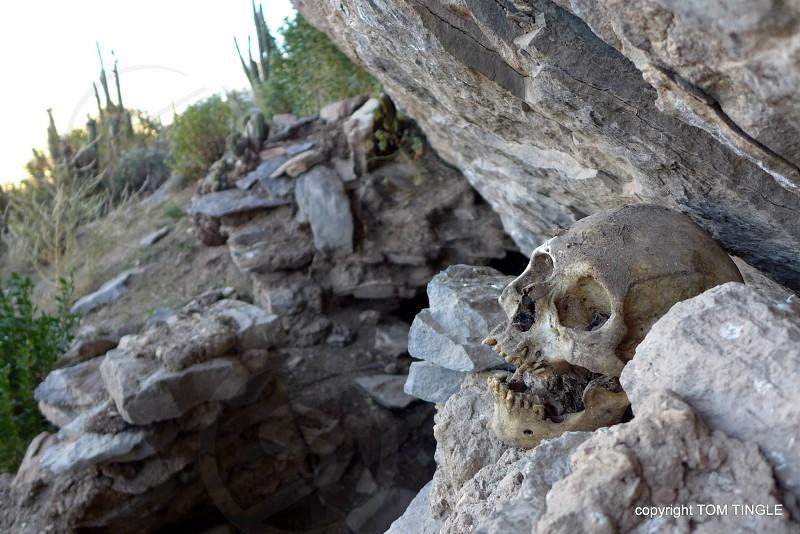 Pre-inca burial site in Colca Canyon Peru photo