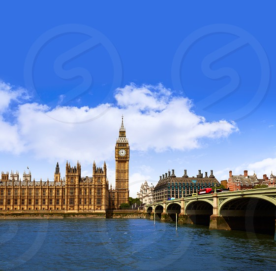 Big Ben London Clock tower in UK Thames river photo