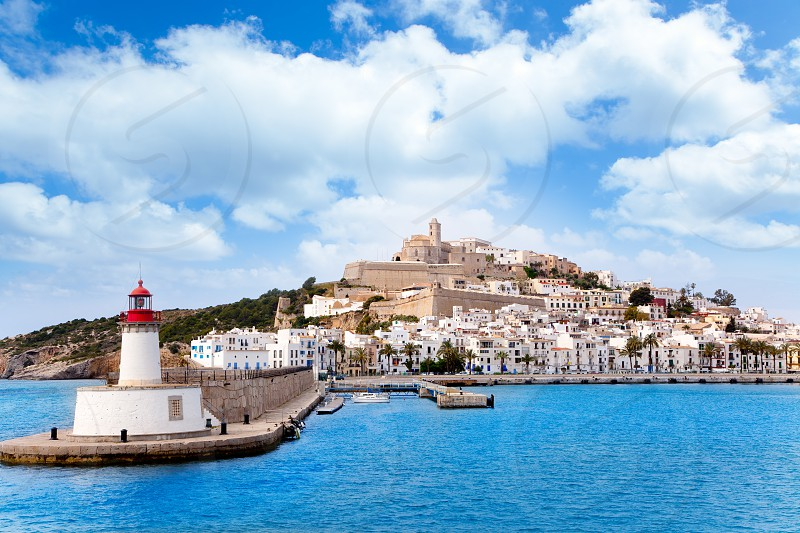 Eivissa ibiza town from red lighthouse red beacon in Balearic Islands photo