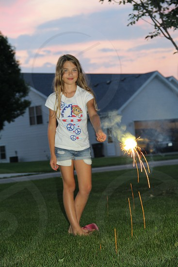girl sparkler 4th of July summer photo