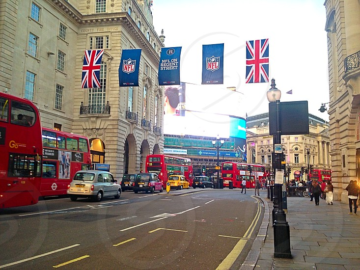 The flags of Regent Street in London for the 2013 International Game celebration. photo