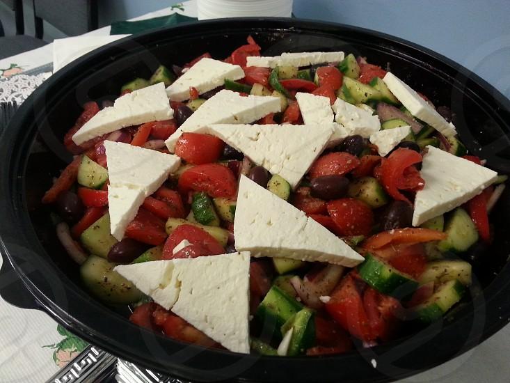 Large #Greek #Salad #foodporn  photo