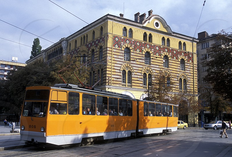 a city train in the old town of the city of Sofia in Bulgaria in east Europe. photo
