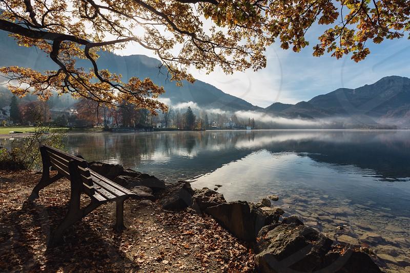 Autumn Lake Kochelsee. during sunrise. Kochel am See Gemeinde in Bayern Germany Europe. photo