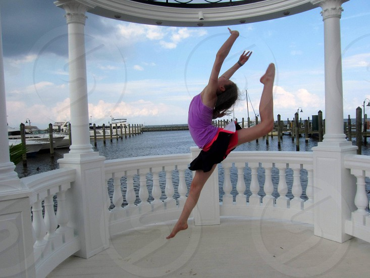 Ring jump in a gazebo overlooking the Chesapeake Bay.  Dance gymnastics photo