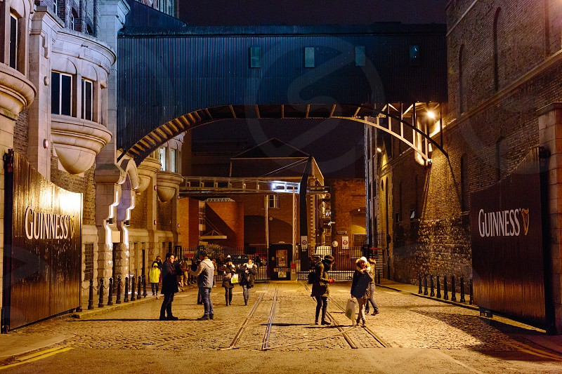 Taken on an evening in Dublin Ireland in front of St. James Gate where the Guinness Storehouse is located. photo