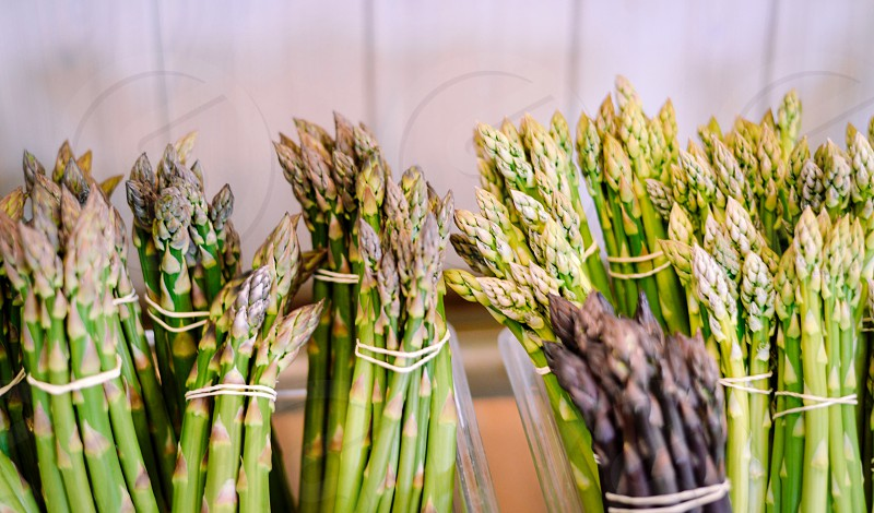 bundles of green asparagus photo