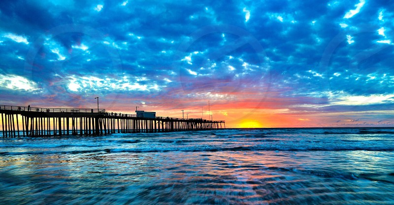The pier at sunset in Pismo Beach California. photo