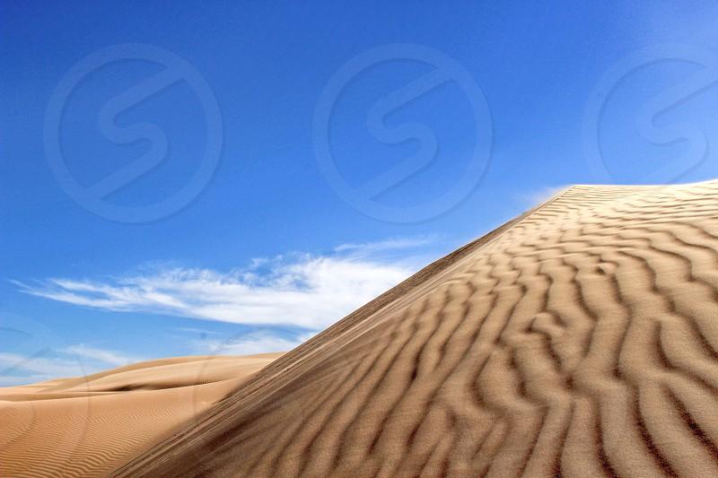 Dune sand desert sun nature California blue neutral wind photo