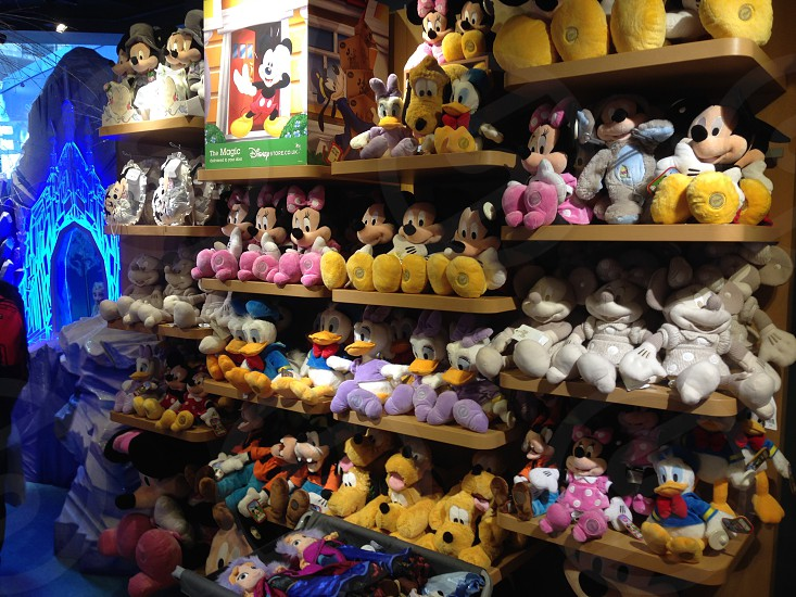 Disney toys shop stacked fully stocked shelves store photo