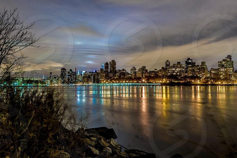 panoramic photo of lit cityscape at night photo