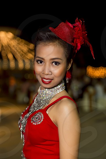 Pretty Asian lady in red dress Chinese new year party model modeling clothing fashion portrait 1 photo