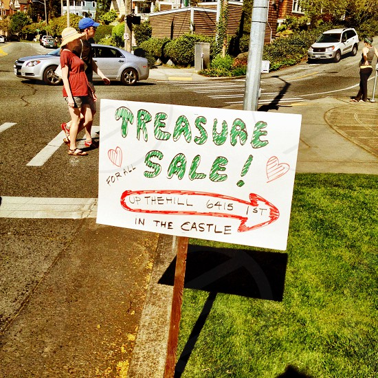 treasure sale up the hill 6415 in the castle  sign photo