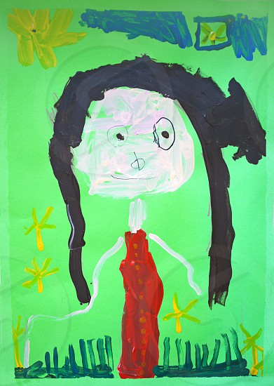child art portrait of a mother 45 years old photo