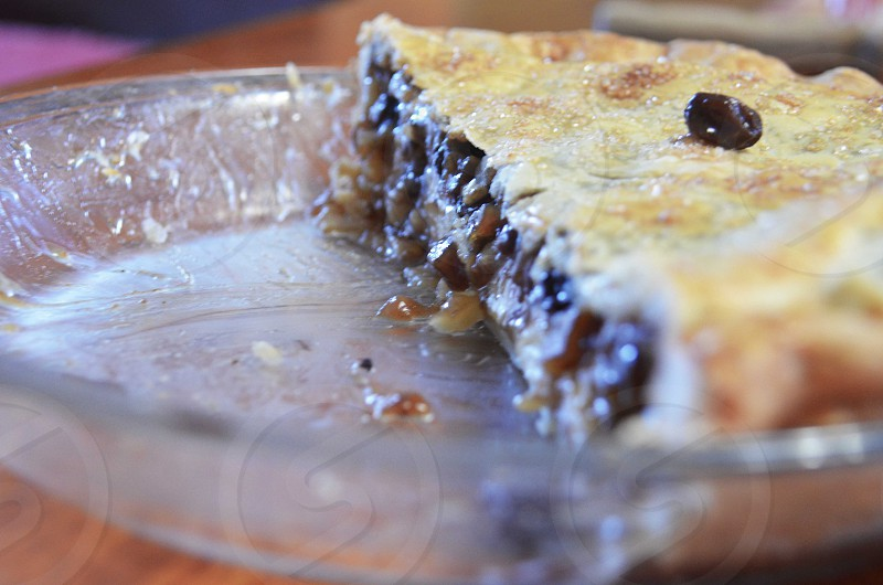 brown pie on clear glass plate photo