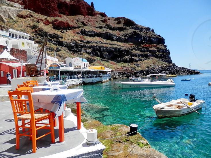 Santorini Greece Summer Hollidays Blue Sea photo