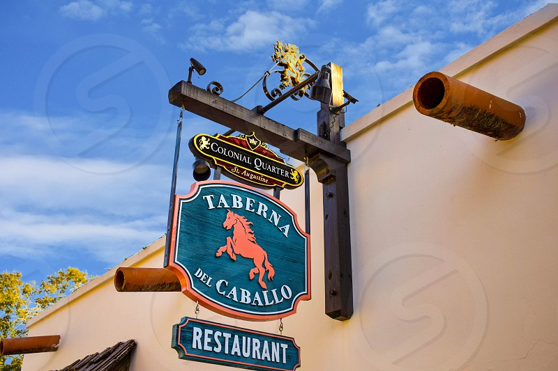 St. Augustine Florida. January 26  2019 .Taberna del Caballo Sign in St. George street at Old Town in Florida's Historic Coast. photo