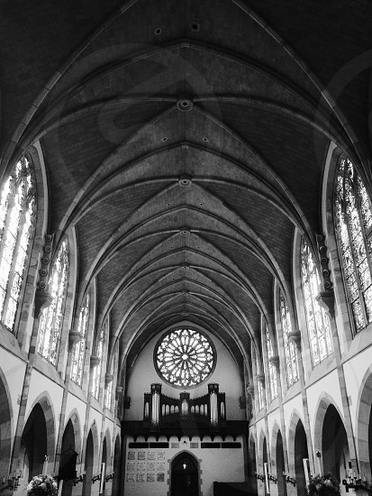 church gray scale photography photo