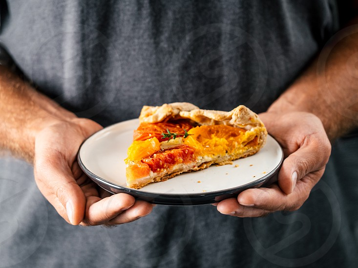 Hands takes plate with portion piece of pie. Savory fresh homemade tomato tart or galette. Healthy appetiezer - whole wheat or rye-wheat pie with tomatoescheese. Copy space for text photo
