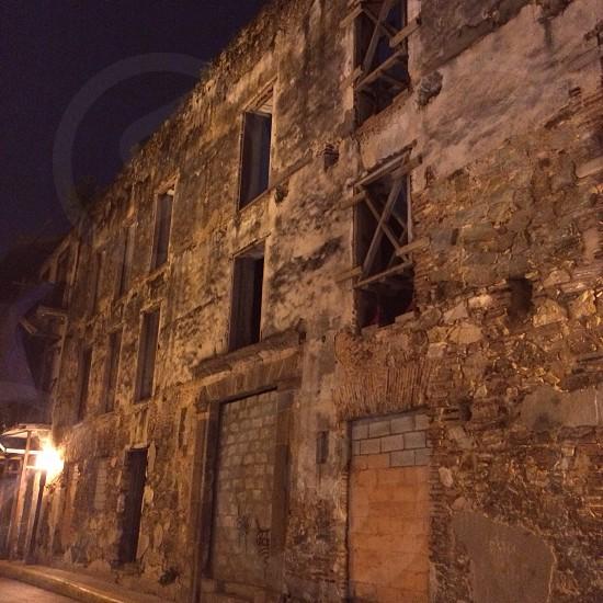 Old City; Panama; brick building; vintage photo
