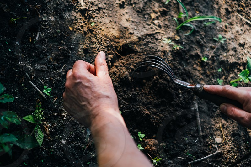 person tilling soil during daytime photo