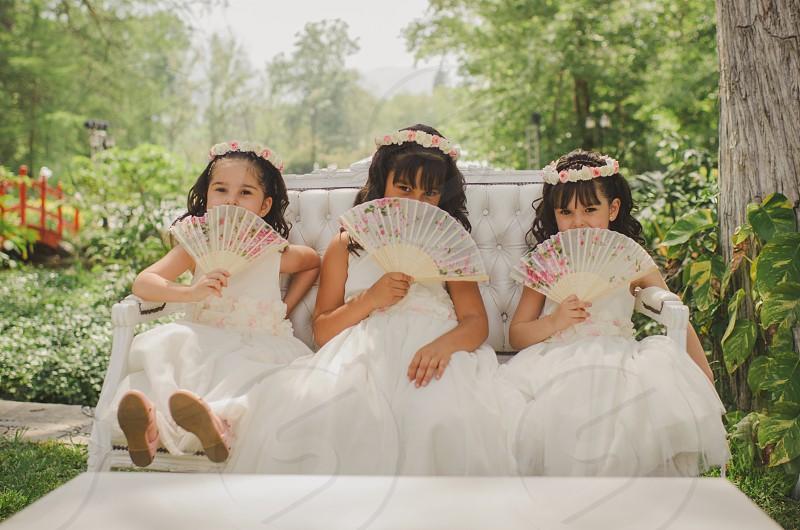 Flower girls at wedding photo