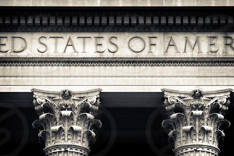 Pilars holding up The United States of America.  Washington DC. photo