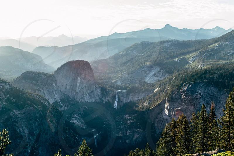 Yosemite sunrise trees rocks  photo