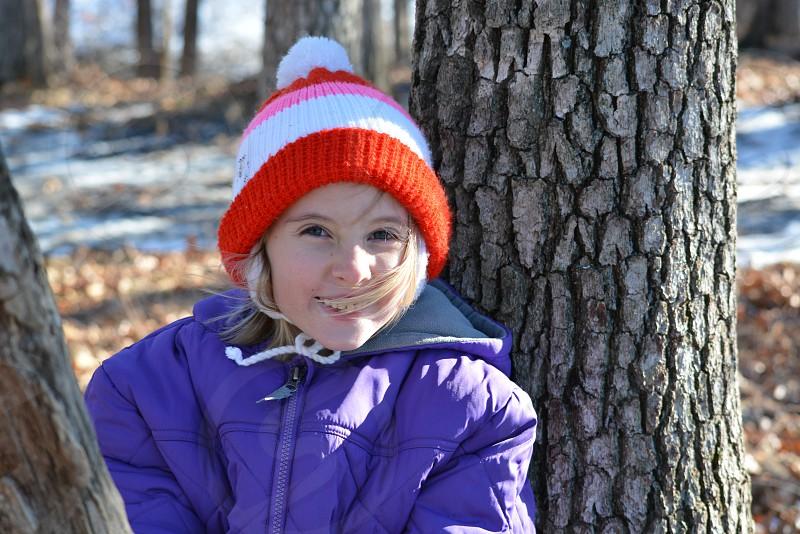 Girl tree outside smile photo