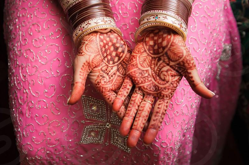 henna hands on wedding day photo