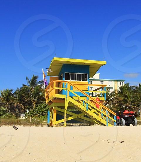Lifeguard stand  beach  miami  photo